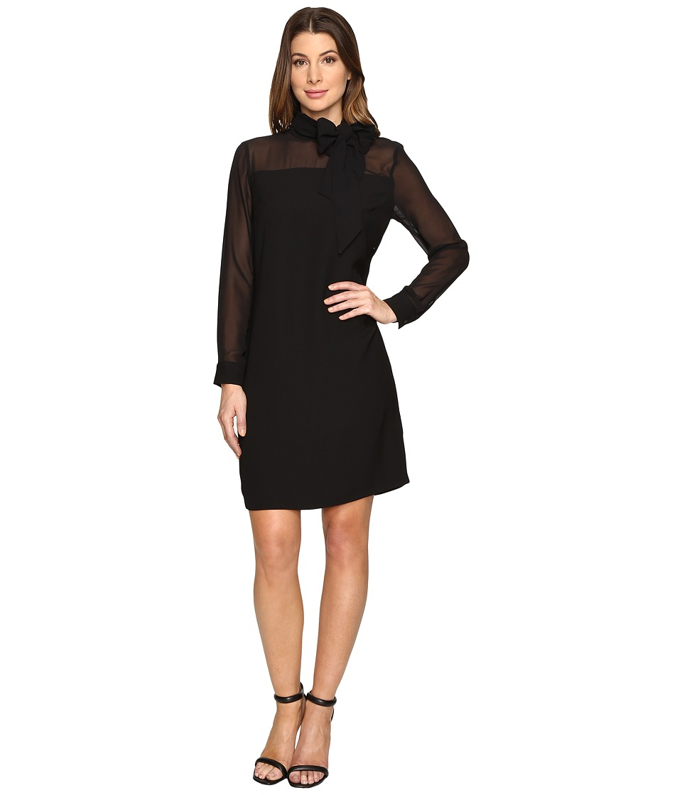 Vince Camuto - Long Sleeve Tie Neck Dress with Chiffon Sleeves/Yoke (Rich Black) Women's Dress