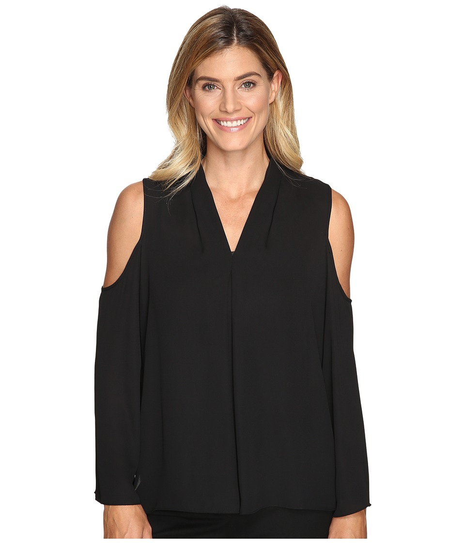 Vince Camuto - Long Sleeve Cold-Shoulder Invert Pleat V-Neck Blouse (Rich Black) Women's Blouse