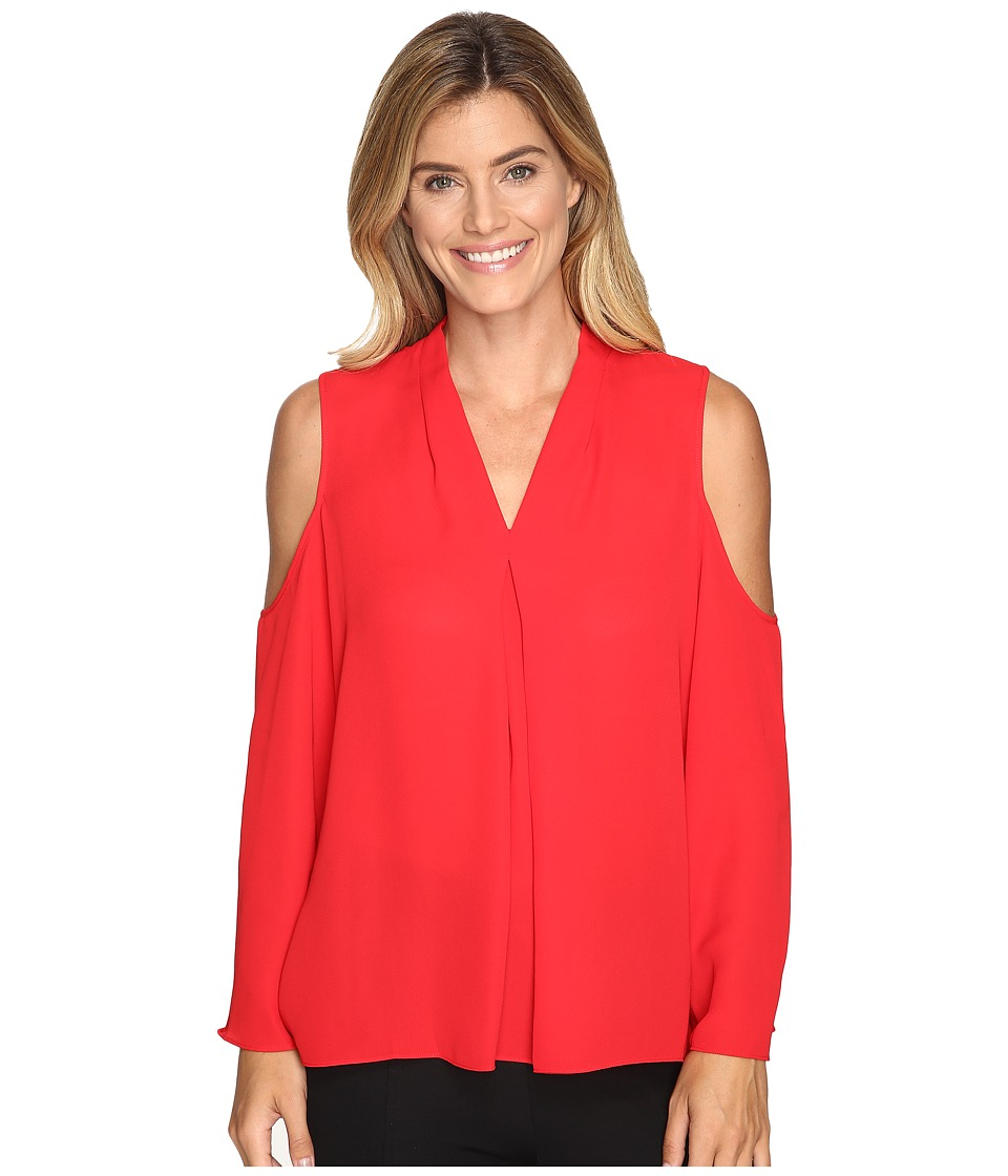 Vince Camuto - Long Sleeve Cold-Shoulder Invert Pleat V-Neck Blouse (Fire Glow) Women's Blouse