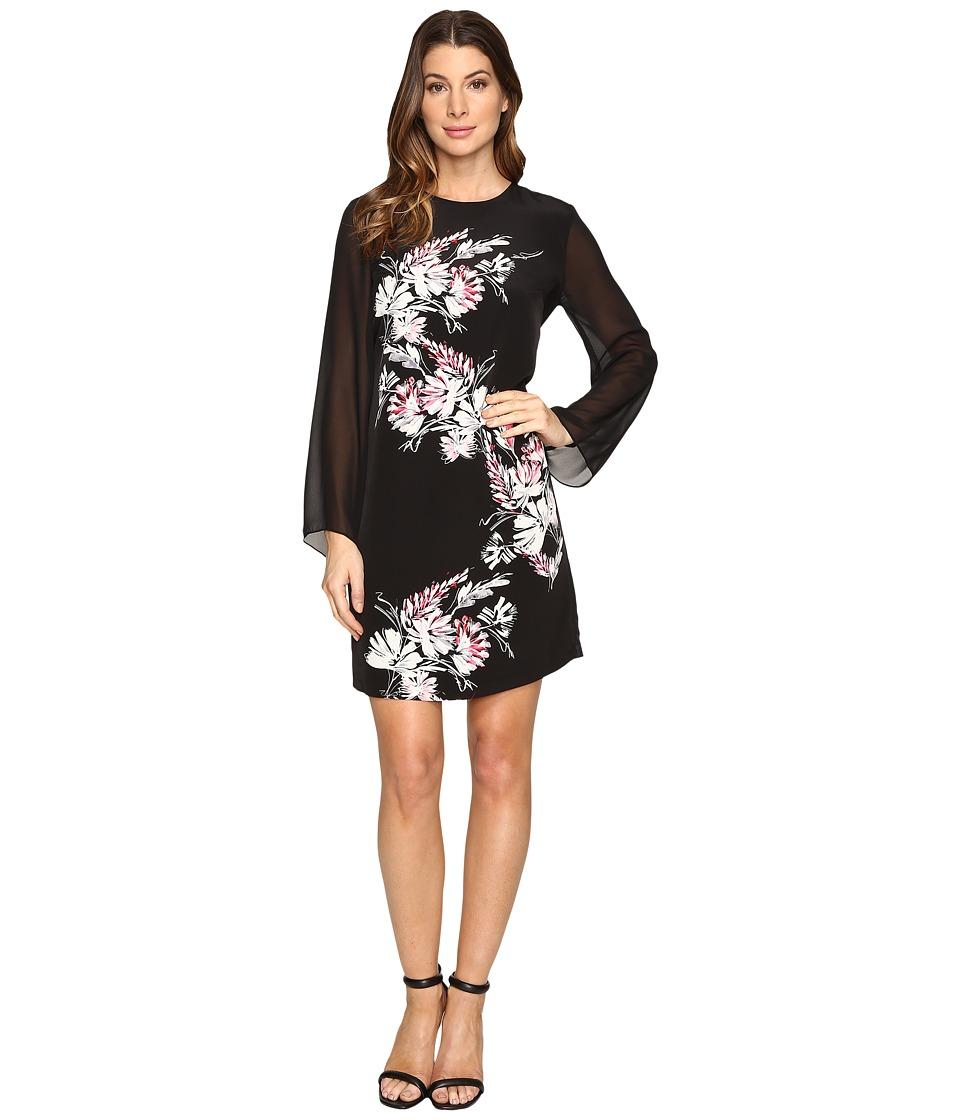 Vince Camuto Chiffon Sleeve Winter Gerland Dress (Rich Black) Women
