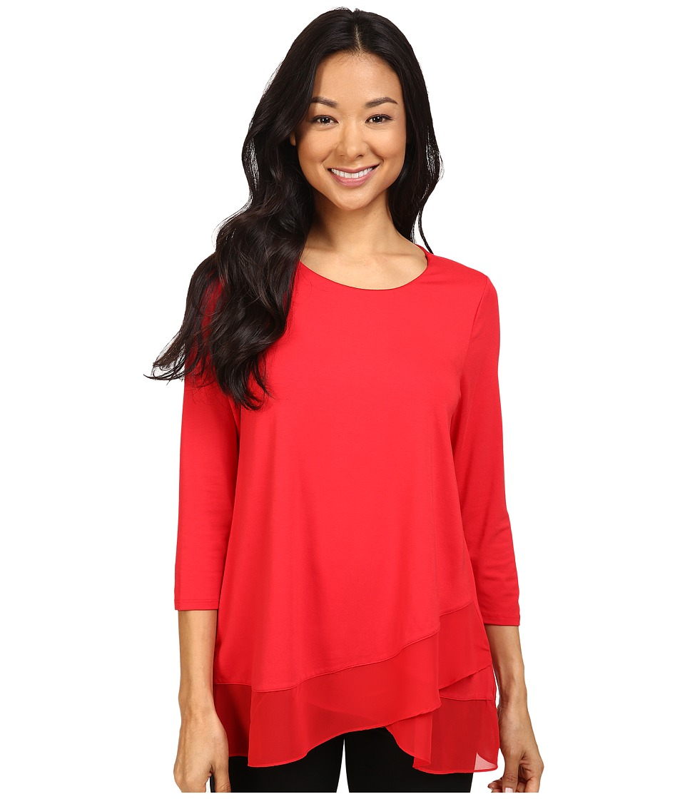 Vince Camuto - 3/4 Sleeve Asymmetrical Chiffon Hem Top (Fire Glow) Women's Clothing