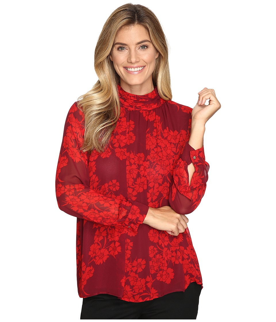 Vince Camuto - Long Sleeve Petal Cascade Ruched Neck Blouse (Dark Chianti) Women's Blouse