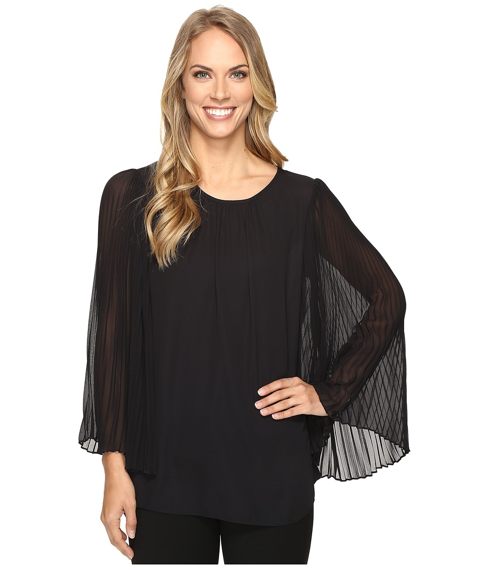 Vince Camuto - Chiffon Pleated Sleeve Blouse (Rich Black) Women's Blouse