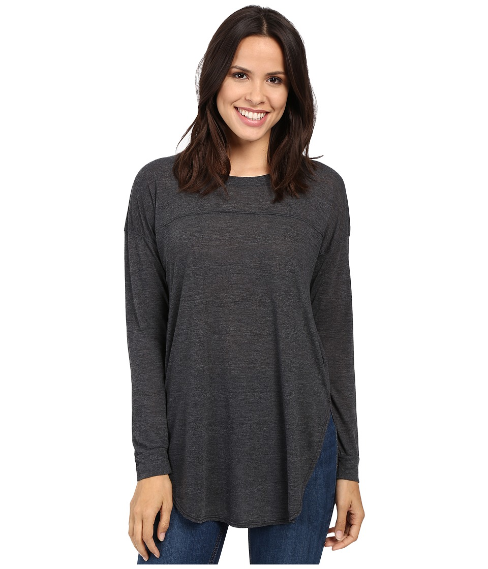 Splendid - Heathered Drop Shoulder Long-Sleeve Tee (Black) Women's Clothing