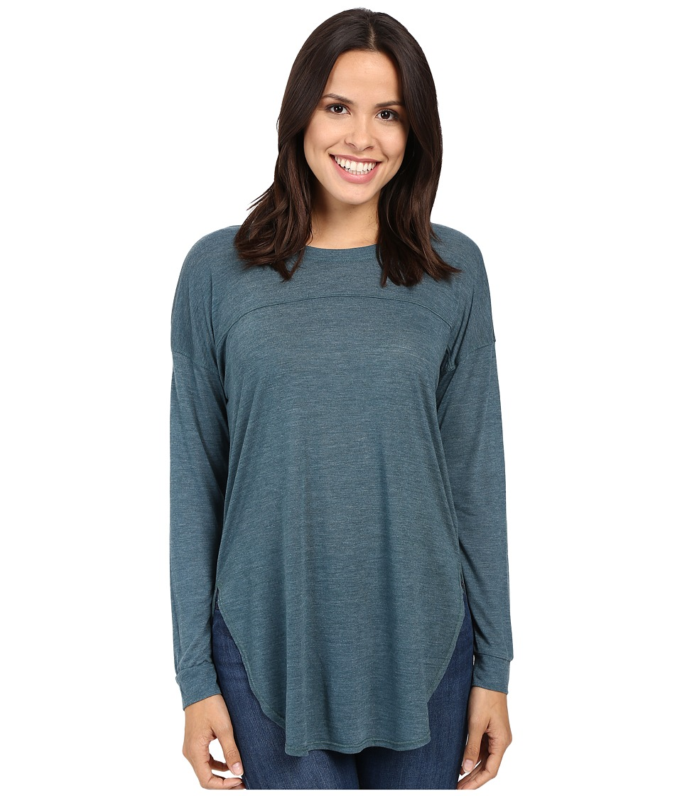 Splendid - Heathered Drop Shoulder Long-Sleeve Tee (Teal Blue) Women's Clothing
