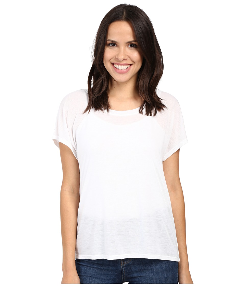 Splendid - Heathered Short Sleeve Scoop Tee (White) Women's Clothing