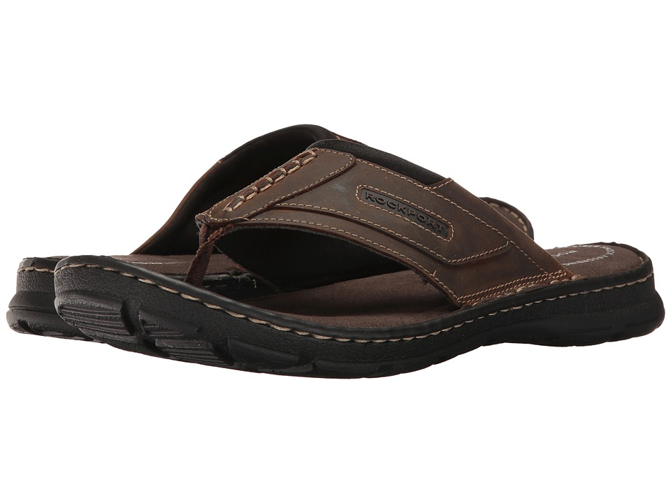 Rockport - Darwyn Thong (Brown II Leather) Men's Slippers