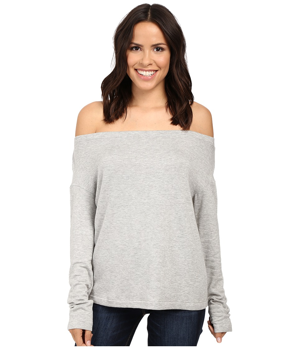Splendid - Super Soft Brushed French Terry Slouchy Boat Neck (Heather Grey) Women's Clothing