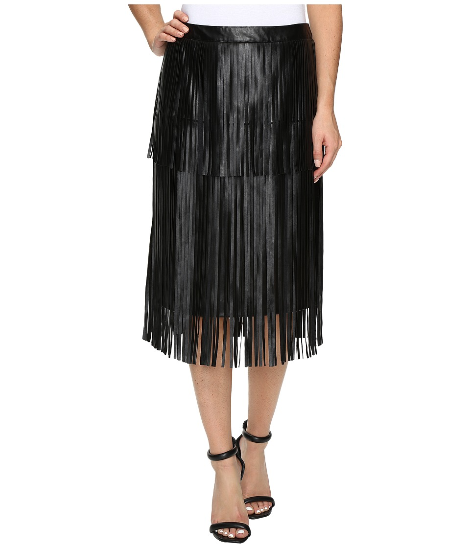 Vince Camuto - Pleather Fringe Tiered Skirt (Rich Black) Women's Skirt