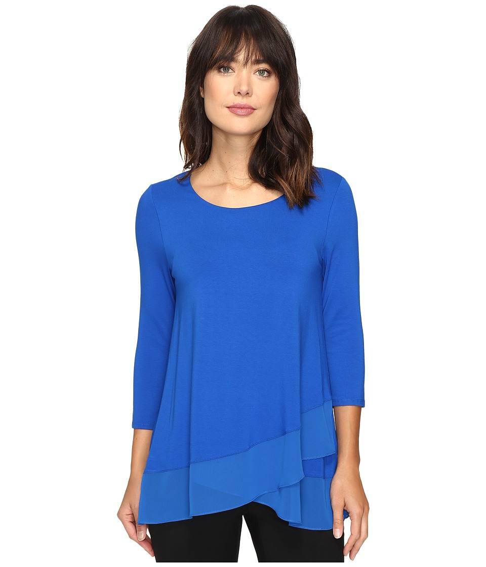 Vince Camuto - 3/4 Sleeve Asymmetrical Chiffon Hem Top (Bold Cobalt) Women's Clothing
