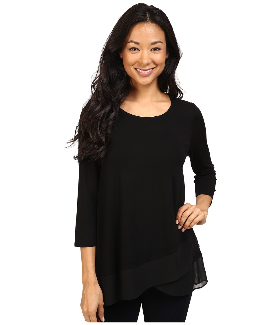 Vince Camuto - 3/4 Sleeve Asymmetrical Chiffon Hem Top (Rich Black) Women's Clothing