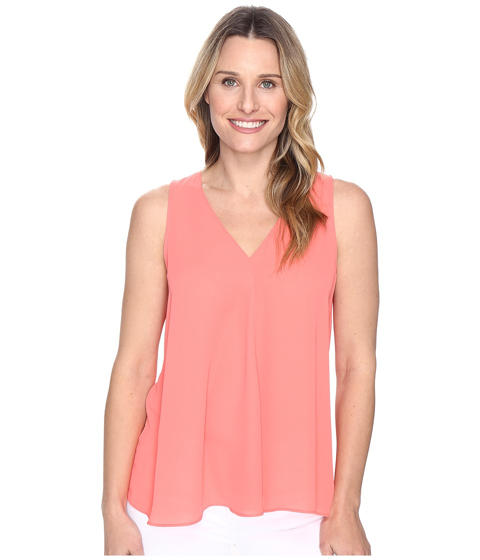 Vince Camuto - Sleeveless V-Neck Drape Front Blouse (Coral Passion) Women's Blouse