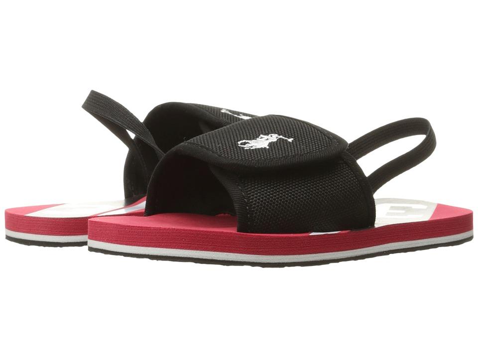 Polo Ralph Lauren Kids - Perri Slide (Little Kid) (Black Nylon/White PP/Red) Boy's Shoes
