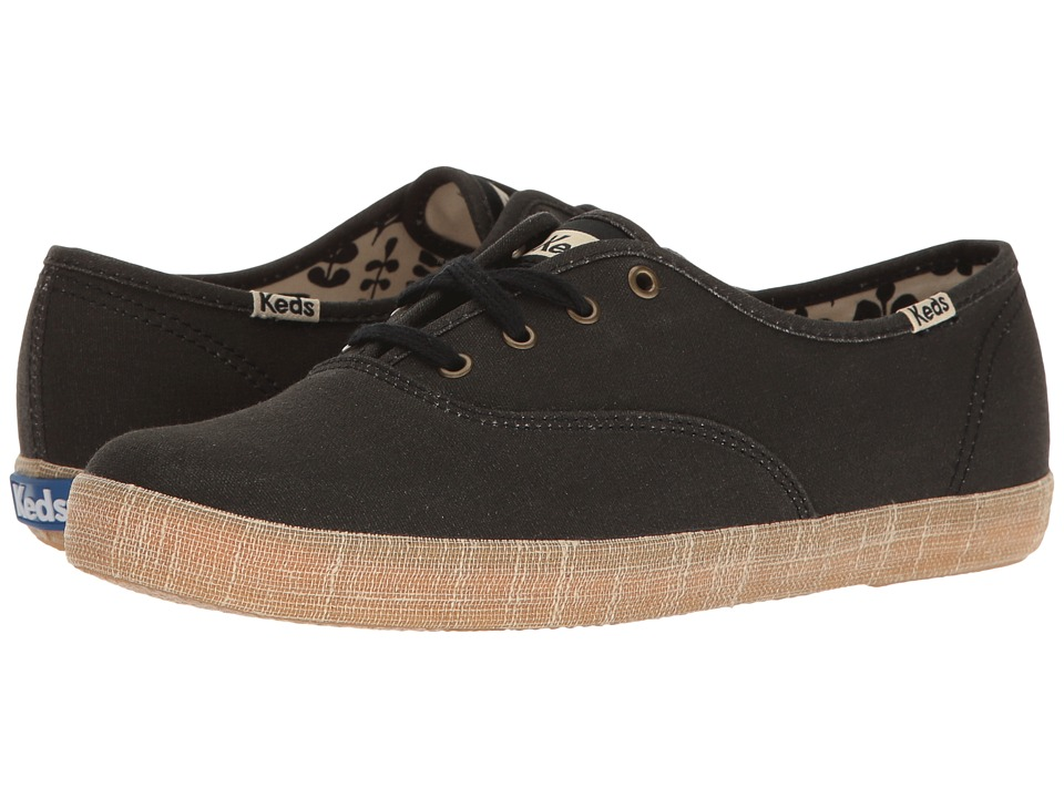 Keds - Champion Burlap Foxing (Black) Women's Lace up casual Shoes