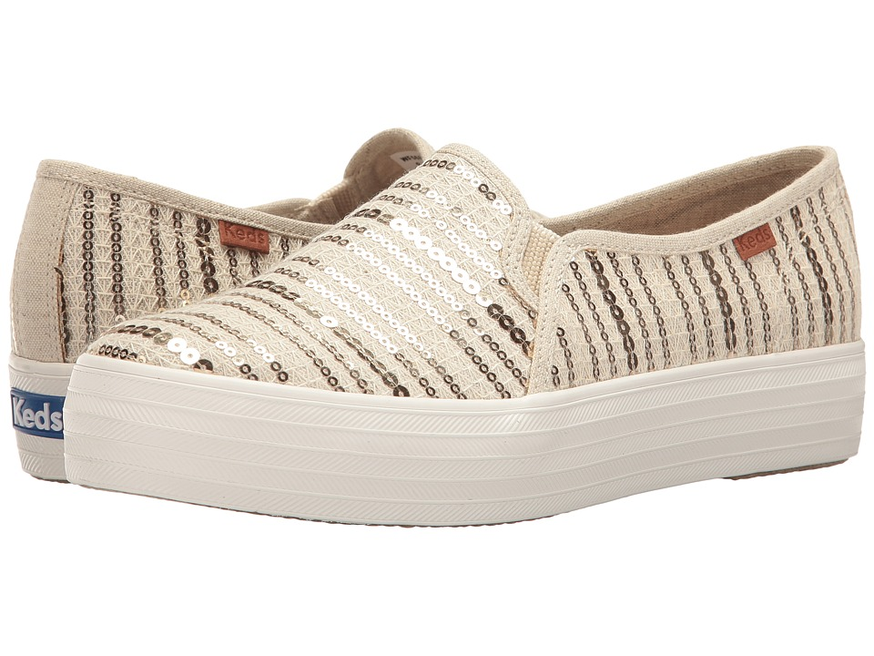 Keds Triple Decker Sequin Stripe (Natural/Gold) Women