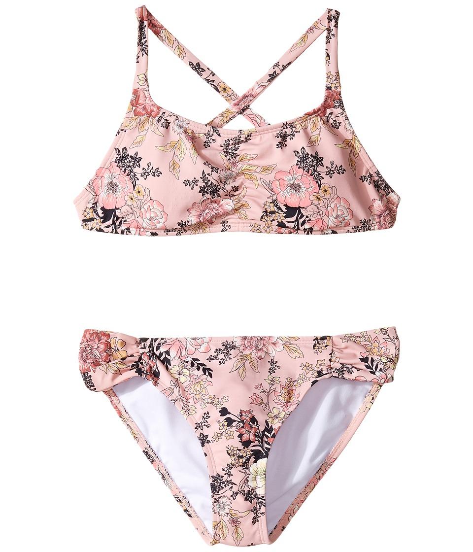 Billabong Kids - Beach Beauty Tali Crossback Set (Little Kids/Big Kids) (Dusty Rose) Girl's Swimwear Sets