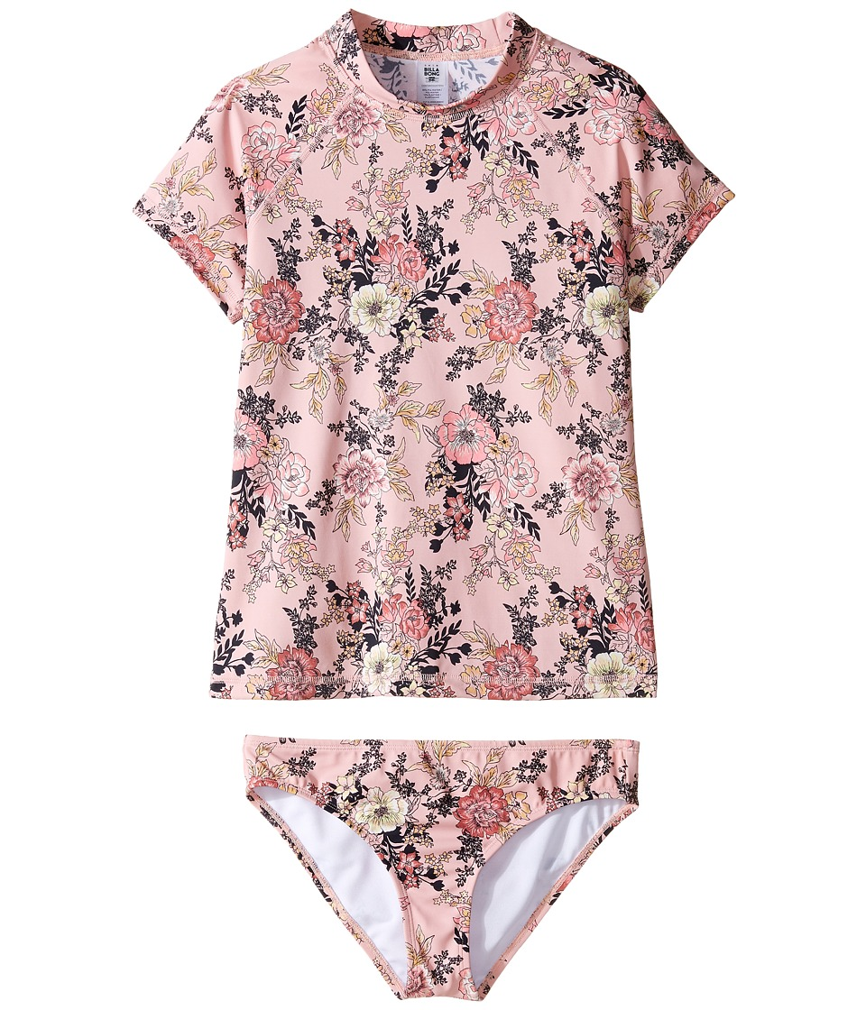 Billabong Kids Beach Beauty Short Sleeve Rashguard Set (Little Kids/Big Kids) (Dusty Rose) Girl