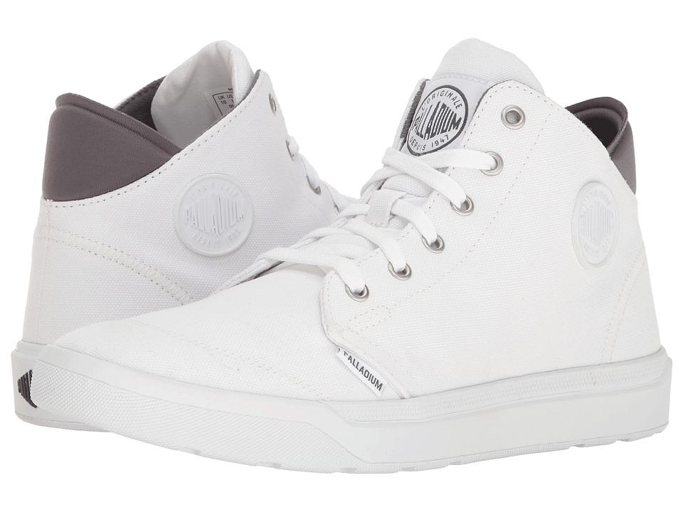 Palladium - Desrue Mid (White/Castlerock) Men's Lace up casual Shoes