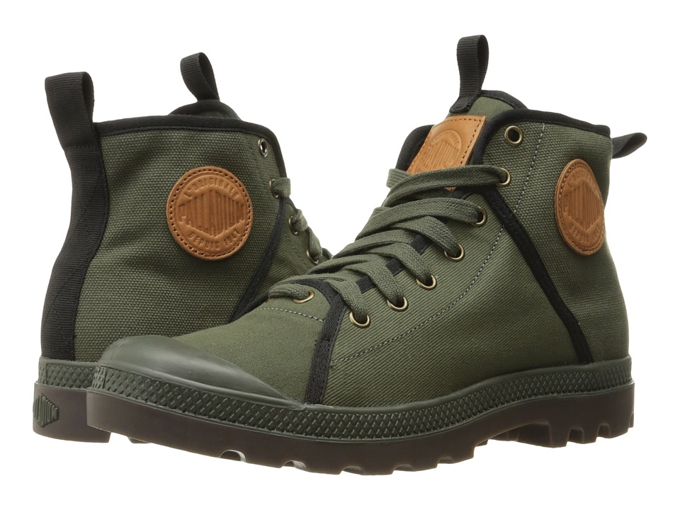 Palladium - Pampa Hi 47 (Army Green/Black/Dark Gum) Men's Lace up casual Shoes