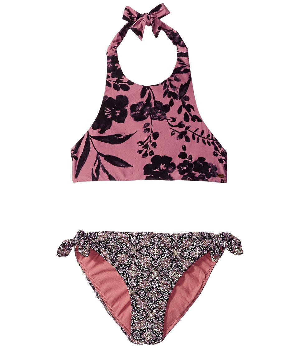 O'Neill Kids - Luna High Neck Halter Bikini (Little Kids/Big Kids) (Mesa Rose) Girl's Swimwear