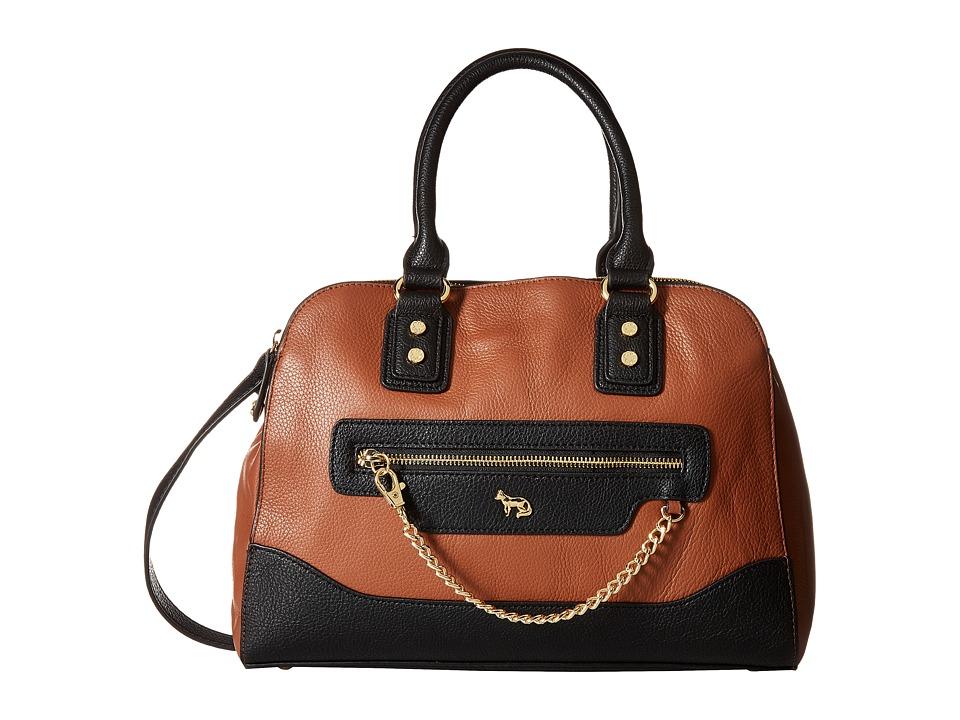 Emma Fox - Caitlin Satchel (Cognac/Black) Satchel Handbags