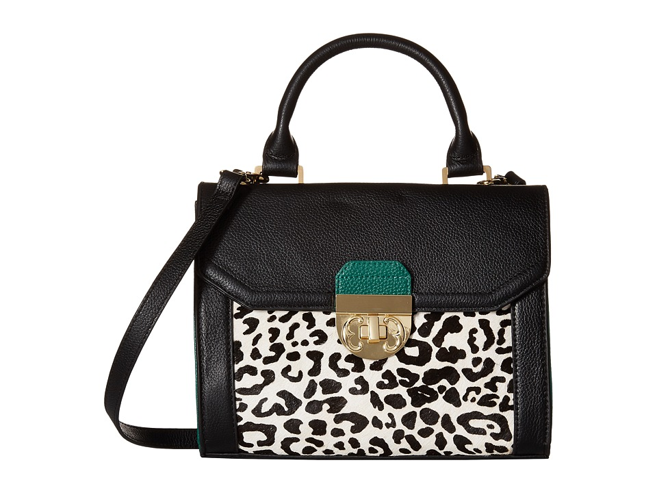 Emma Fox - Filmore Patchwork Valatie Top Handle (White/Leopard Multi) Top-handle Handbags
