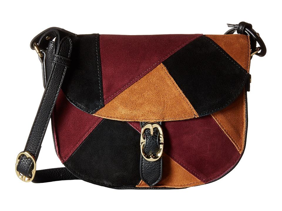 Emma Fox - Filmore Patchwork Saddle Bag (Burgundy Multi) Handbags