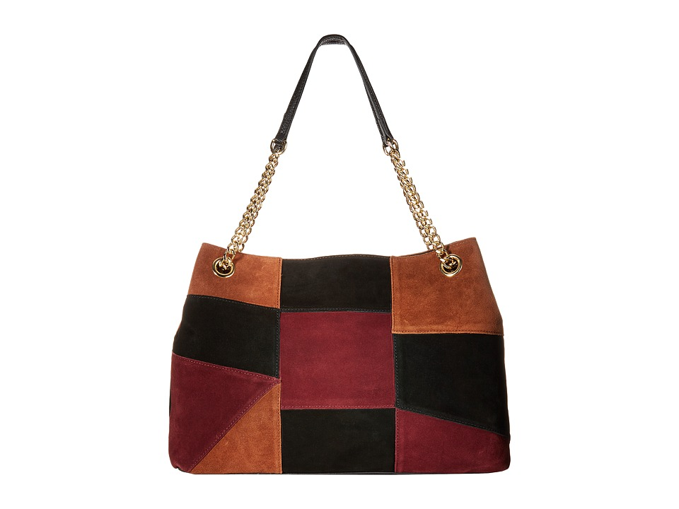 Emma Fox - Filmore Patchwork Chain Satchel (Burgundy Multi) Satchel Handbags