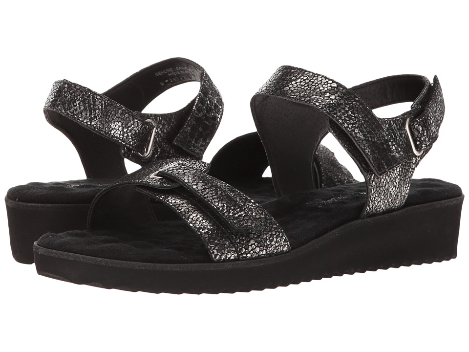 Walking Cradles - Halle (Black/Silver Snake) Women's Sandals