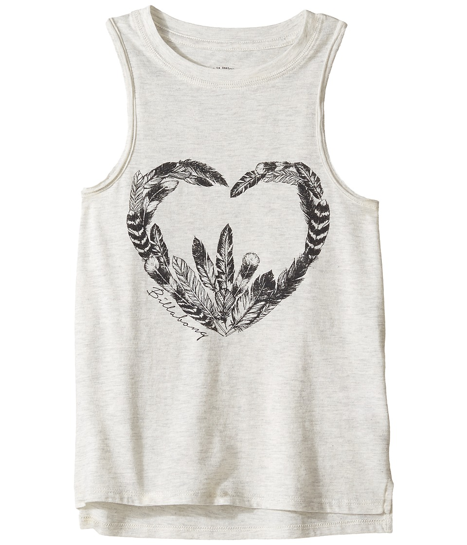 Billabong Kids - Feather Heart Tank Top (Little Kids/Big Kids) (Ice Athletic Grey) Girl's Sleeveless
