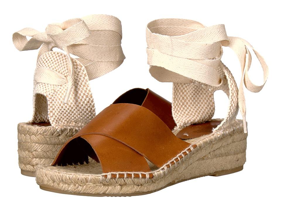 Soludos Crisscross Demi Wedge (Camel Leather) Women