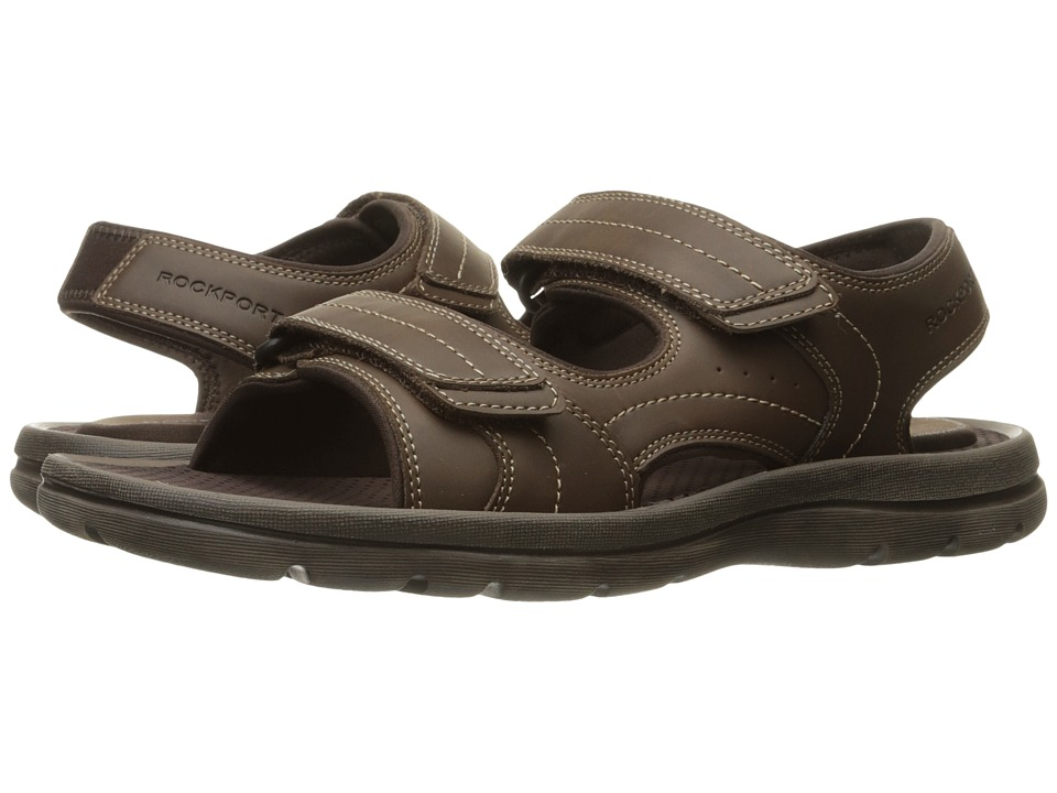 Rockport - Get Your Kicks Sandals Double Hook-And-Loop (Dark Brown Leather) Men's Shoes