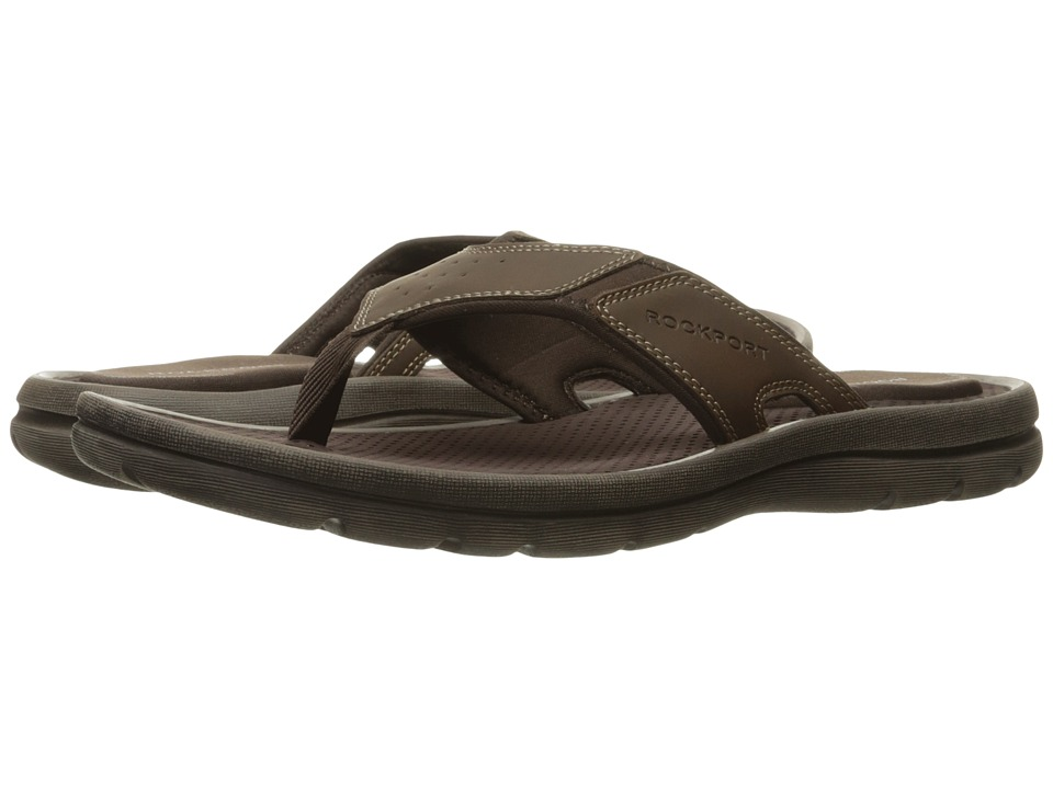 Rockport - Get Your Kicks Sandals New Thong (Dark Brown Leather) Men's Slippers