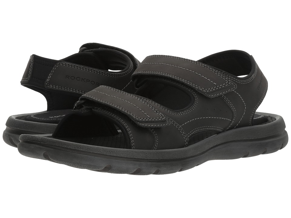 Rockport - Get Your Kicks Sandals Double Hook-And-Loop (Black Leather) Men's Shoes