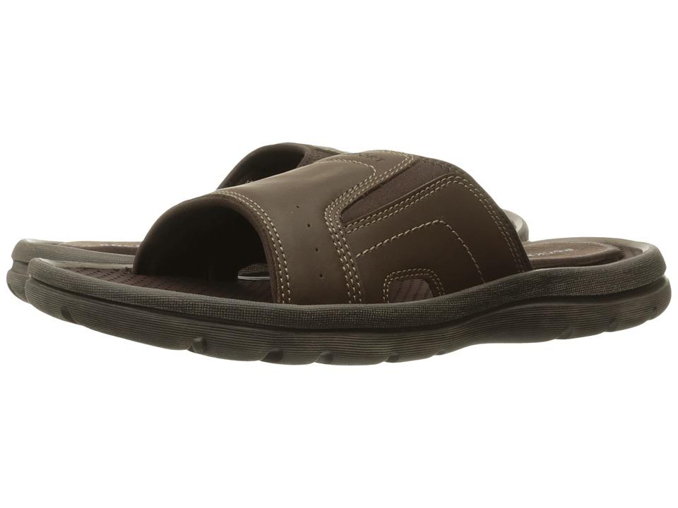 Rockport - Get Your Kicks Sandals Strap Slide (Dark Brown Leather) Men's Slide Shoes