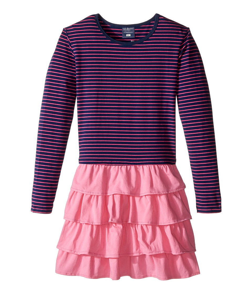 Toobydoo - Sasha Ruffle Pink Dress (Toddler/Little Kids/Big Kids) (Pink/Navy) Girl's Dress