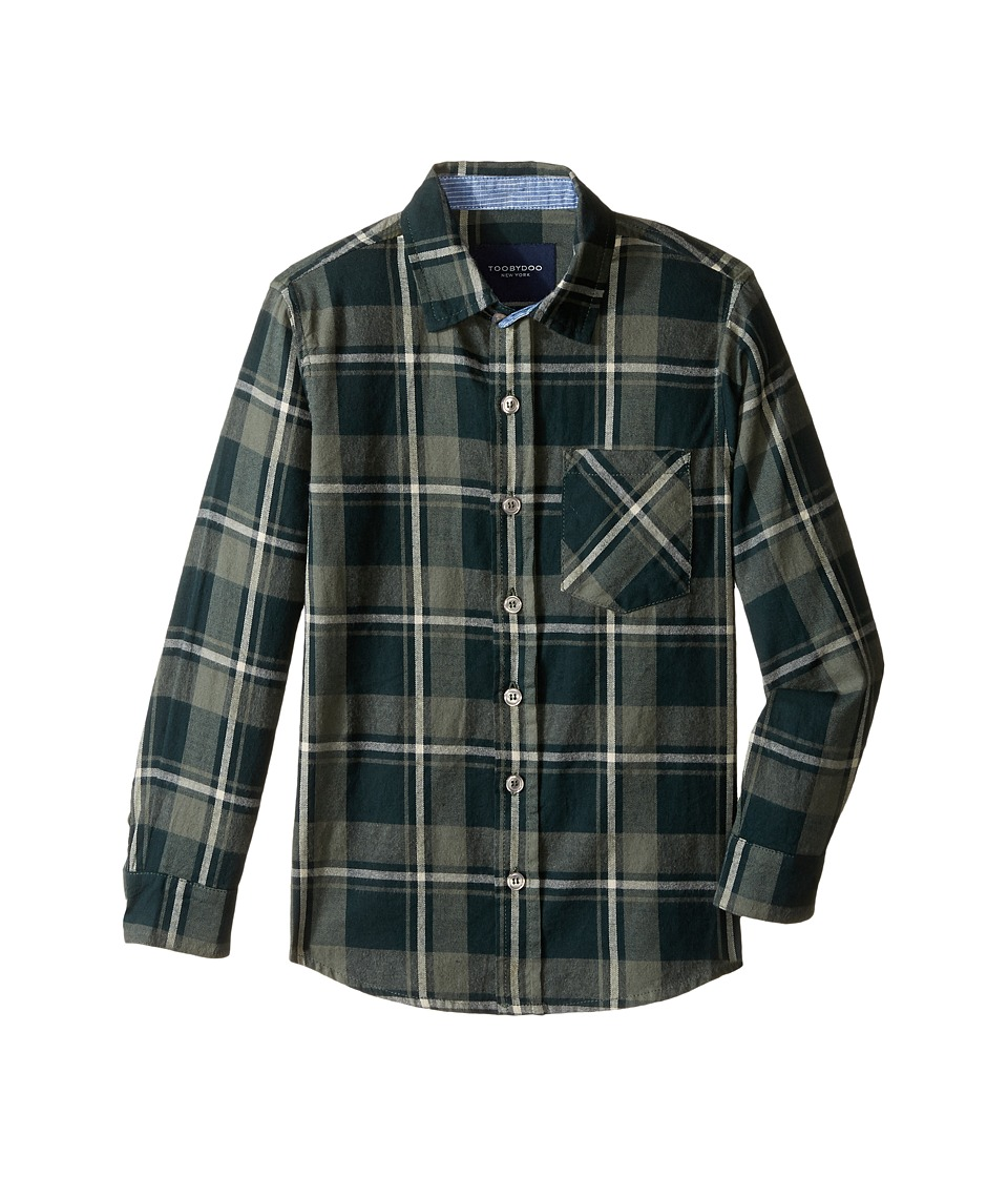 Toobydoo - Forest Green Flannel Shirt (Infant/Toddler/Little Kids/Big Kids) (Green/White) Boy's Clothing