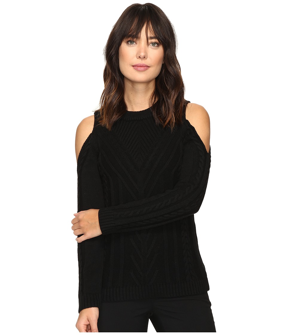 Vince Camuto - Long Sleeve Cold-Shoulder Cable Sweater (Rich Black) Women's Sweater