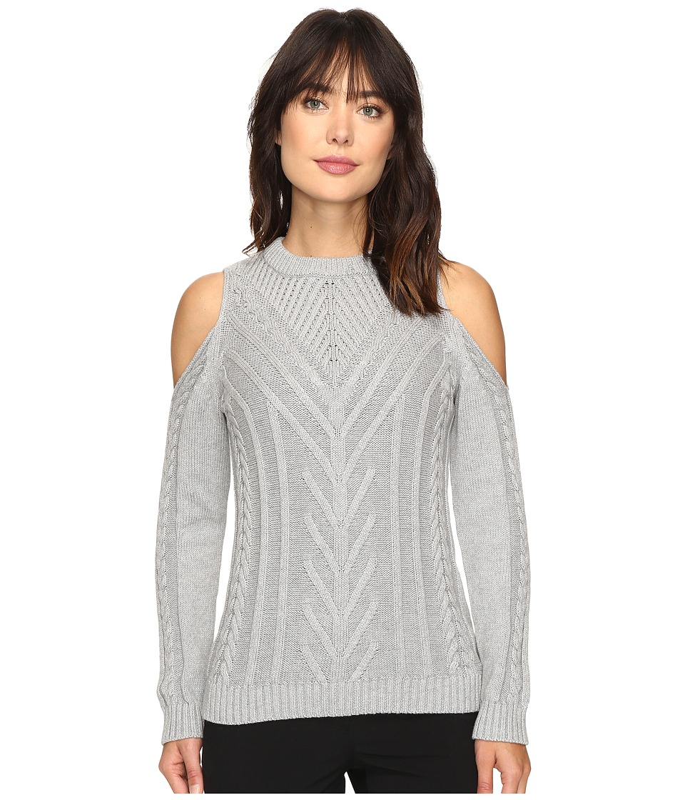 Vince Camuto - Long Sleeve Cold-Shoulder Cable Sweater (Light Heather Grey) Women's Sweater