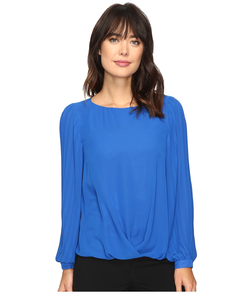 Vince Camuto - Pleated Sleeve Fold-Over Blouse (Bold Cobalt) Women's Blouse