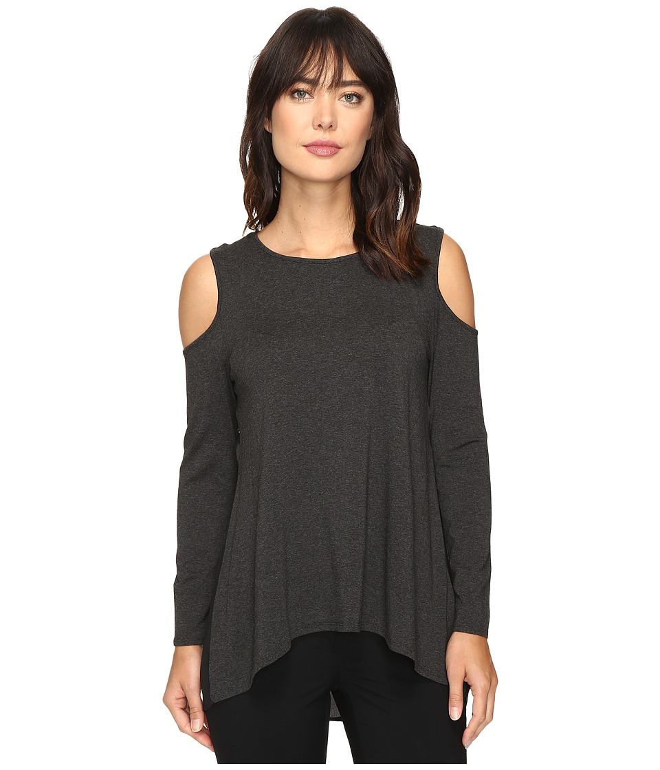 Vince Camuto - Long Sleeve Cold-Shoulder Top (Dark Heather Grey) Women's Clothing