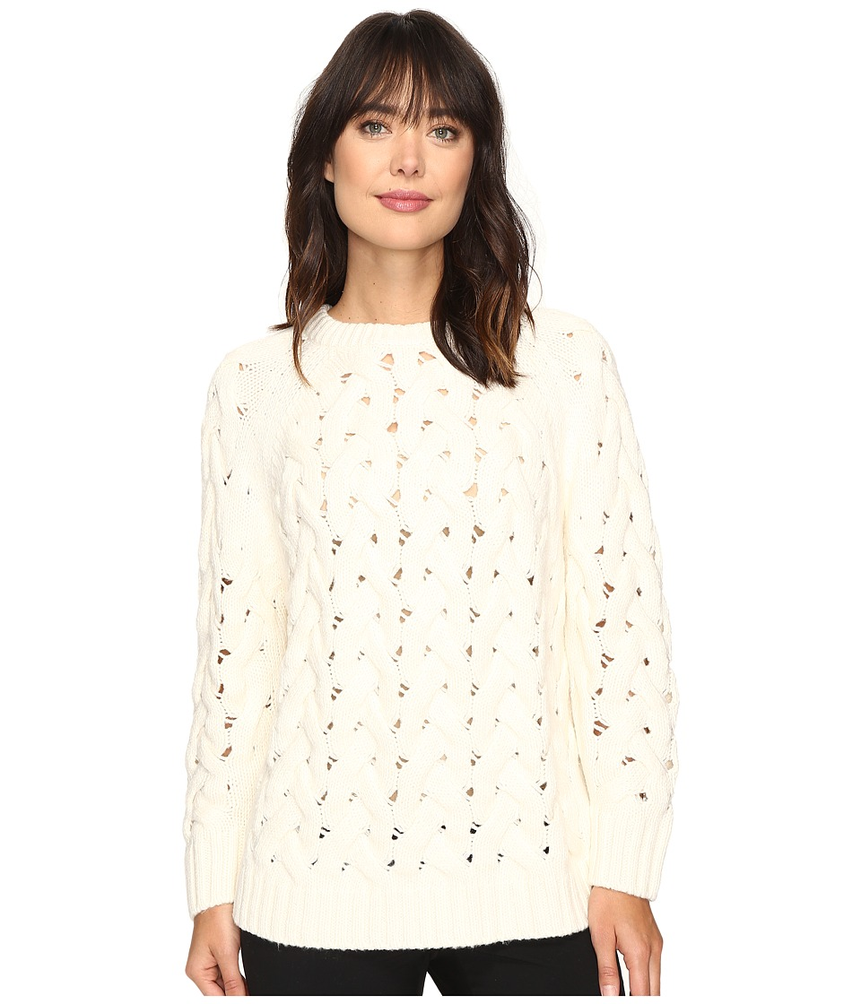 Vince Camuto - Long Sleeve Crew Neck Chunky Cable Sweater (Antique White) Women's Sweater