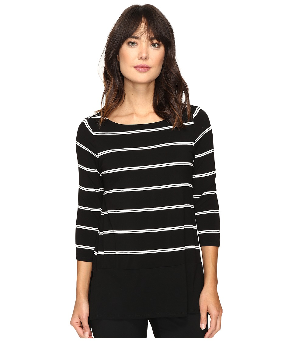 Vince Camuto - Long Sleeve Chiffon Hem Stripe Duet Top (Rich Black) Women's Clothing