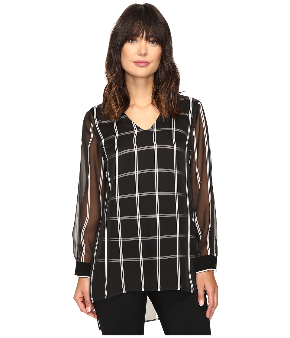 Vince Camuto - Long Sleeve V-Neck Stripe Duet Blouse with Knit Underlay (Rich Black) Women's Blouse