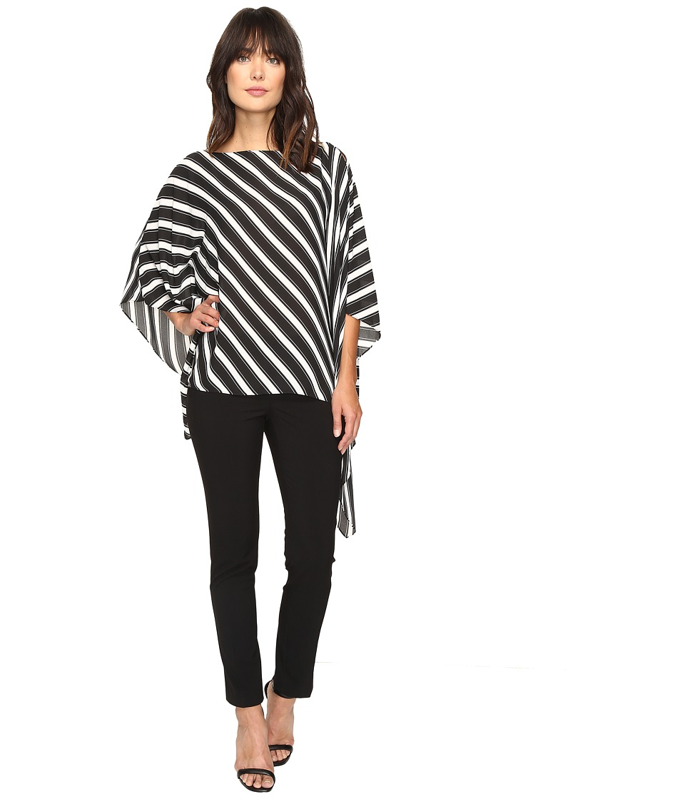 Vince Camuto - Diagonal Stripe Poncho (Rich Black) Women's Coat
