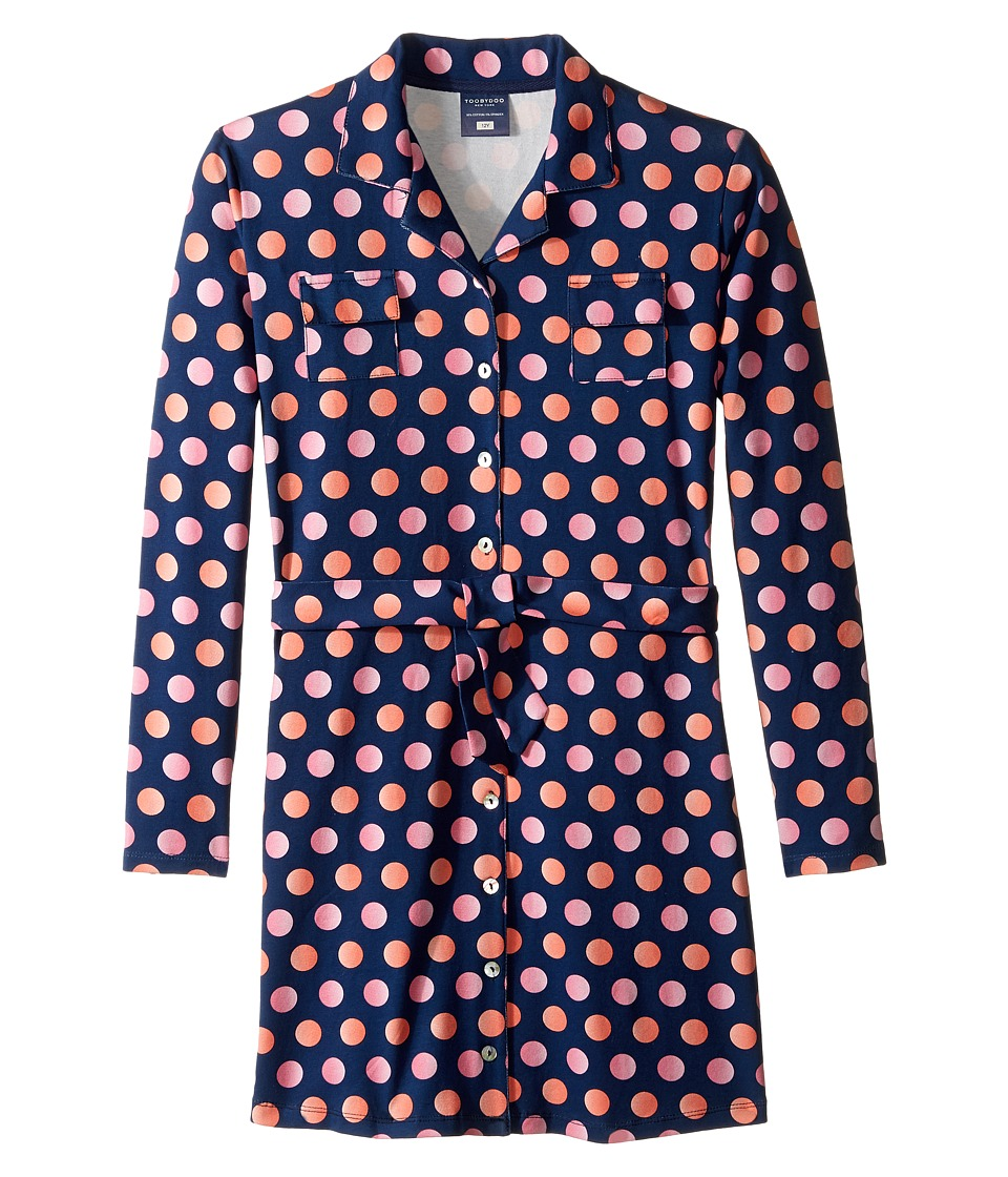 Toobydoo - Dot Party Shirtdress (Toddler/Little Kids/Big Kids) (Navy/Orange/Pink Dot) Girl's Dress