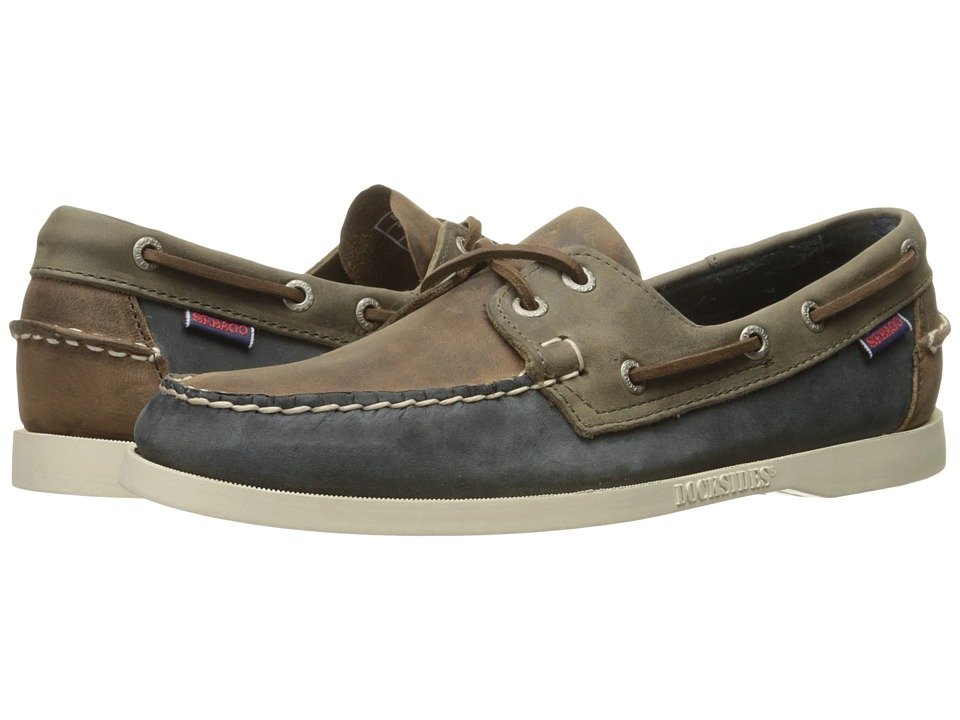 Sebago - Spinnaker (Brown/Navy/Grey Leather) Men's Lace Up Moc Toe Shoes