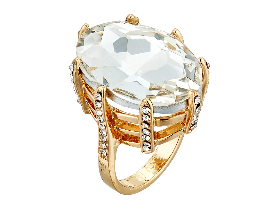 GUESS - Faceted Marquis Stone Prong Ring Set (Gold/Crystal) Ring