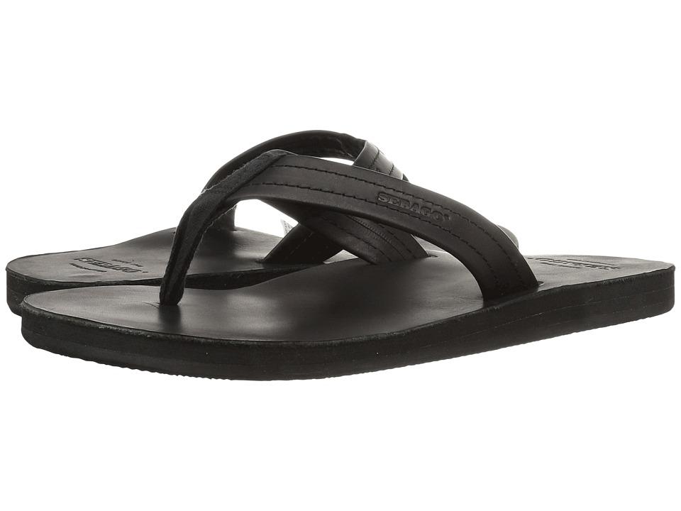 Sebago Tides Flip Flop (Black Leather) Men