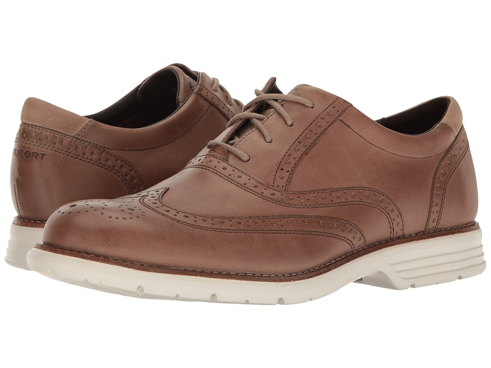 Rockport - Total Motion Fusion Wing Tip (Rocksand Leather) Men's Lace Up Wing Tip Shoes